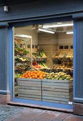 organic food grocery window