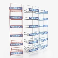 Empty store shelves. Retail shelf rack. Showcase display. Mockup template ready for design. 3d rendering.