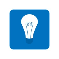 Energy and idea symbol. Light bulb icon in blue color. Lamp icon logo.