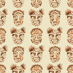 Seamless Pattern with Brown Tribal Faces. Watercolor. Raster.