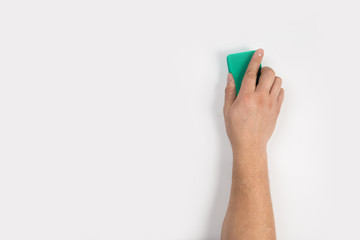 Man's hand cleaning on a white background