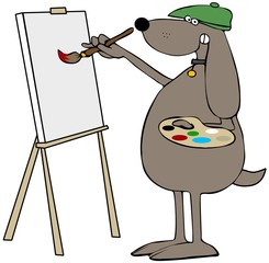 Dog artist painting on canvas