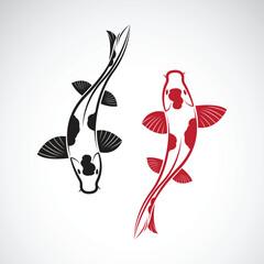 Vector of carp koi fish isolated on white background. Pet Animal. Fish icon. Easy editable layered vector illustration.