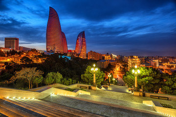 Baku city, Azerbaijan, in the evening light