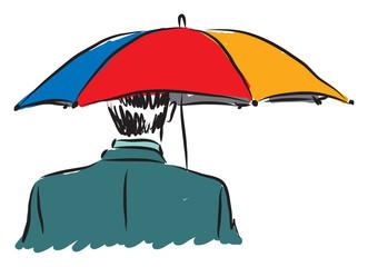 businessman with un umbrella business concept illustration