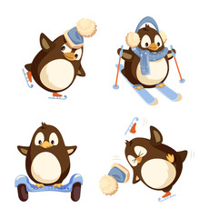 Penguin skiing and skating in warm hat and earmuffs with scarf. Running animal on segway and falling. Set of winter activities isolated on white vector