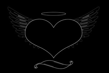 Black heart with wings on a black background