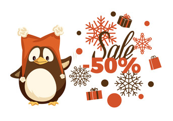 Merry Christmas sale 50 percent half price off vector. Special discount winter holiday offers, snowflake ornaments and percentage penguin in warm hat