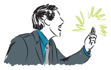 business yelling at phone illustration