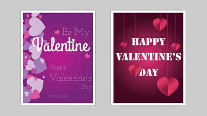Valentines day background with Hearts. Vector illustration.Wallpaper.flyers, invitation, posters, brochure, banners