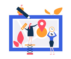 Office location - flat design style colorful illustration