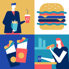 Fast food - flat design style colorful illustration