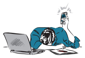 business man working listening his phone illustration