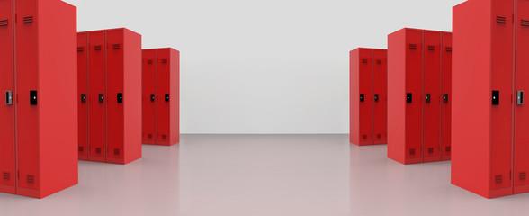3d rendering. panorama view of red metal lockers on the floor background.