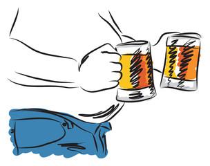 belly beer man drinking beer illustration