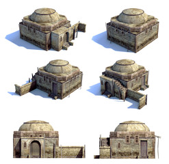 Set of 3d-renders of old asian houses