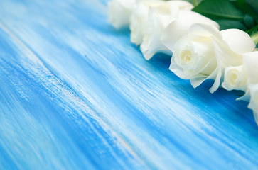 White Rose. A bouquet of delicate roses on a wooden blue background. Place for text, close-up. Romantic background for spring holidays. Wall mural