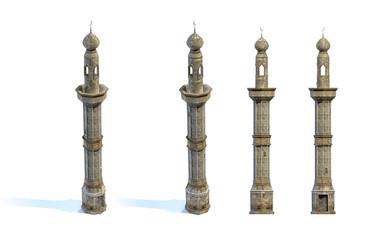 Set of 3d-renders of old minaret
