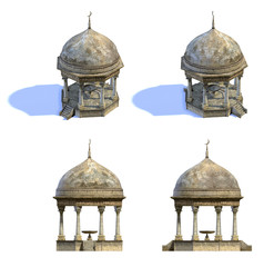Set of 3d-renders of old arab building