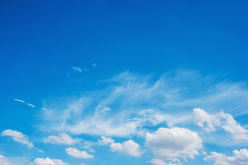 Blue sky with clouds for nature background.