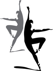 ballet dancers silhouette illustration
