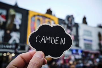 word Camden in a signboard in London, UK