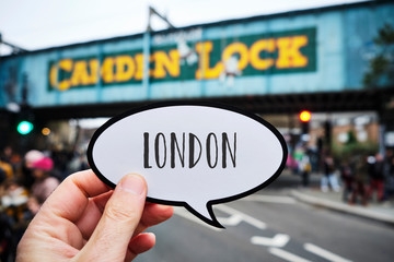 word London in a signboard at Candem Lock