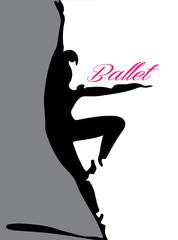 ballet dancer silhouette 4 pink lettering