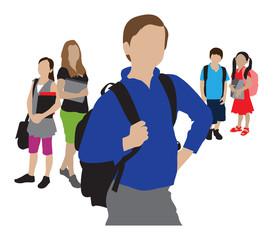 back to school children going to school illustration