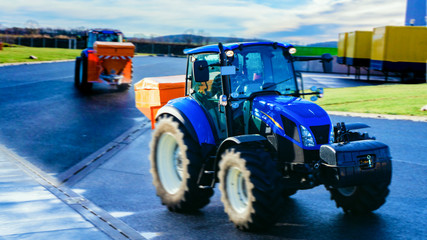 Tractor . the car for purification of ice . Loading docks .