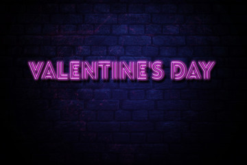 Valentines Day 90's 80's Retro Neon inscription of Valentines Day banner. Neon inscription of Valentines Day with glowing backlight. Purple and Blue colors. Isolated graphic element.