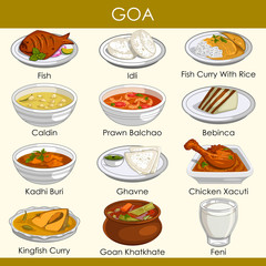 illustration of delicious traditional food of Goa India