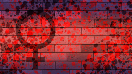 Grange feminist flag brick background