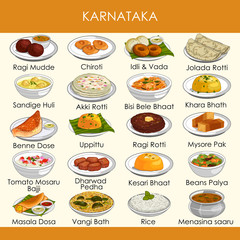 illustration of delicious traditional food of Karnataka India
