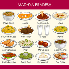 illustration of delicious traditional food of Madhya Pradesh India