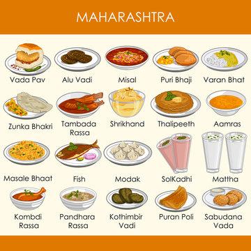 illustration of delicious traditional food of Maharashtra India