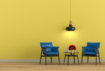 interior design for living area with armchair. 3d render