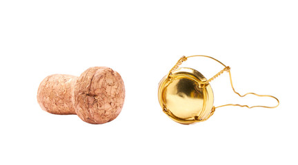 Corks from champagne bottle isolated