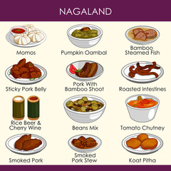 illustration of delicious traditional food of Nagaland India