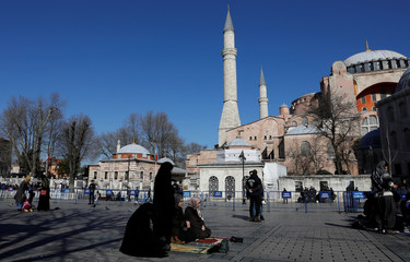 A group of Islamist protesters demanding the Byzantine-era monument of Hagia Sophia, which is currently a museum, be converted into a mosque, held their friday prayers in front of the museum in Istanbul