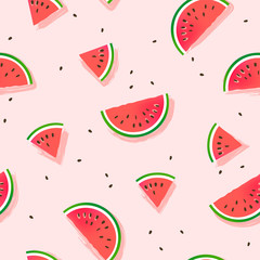 Watermelon slices vector pattern.