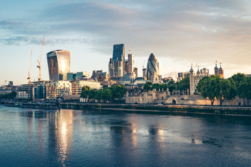 Banks of river Thames in London at sunset