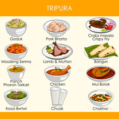 illustration of delicious traditional food of Tripura India