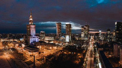 A panorama of Warsaw downtown at night.