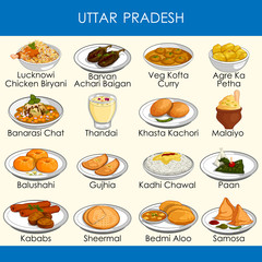 illustration of delicious traditional food of Uttar Pradesh India