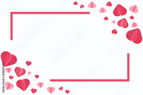 Horizontal Valentines Day greeting Template in frame  Vector