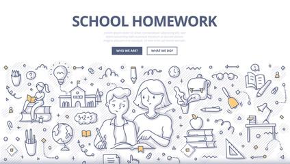 School Homework Doodle Concept