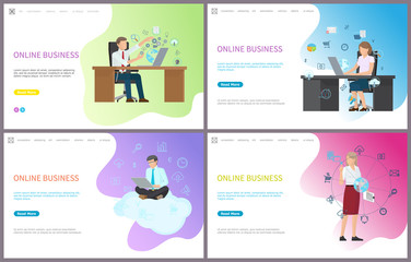 Online business, businessman solving problems in internet vector. Person sitting on cloud, businesswoman with worldwide global information and data