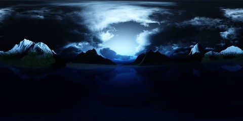 HDRI, environment map , Round panorama, spherical panorama, equidistant projection, panorama 360, Lake in the mountains at night, the moon above the lake in the mountains,