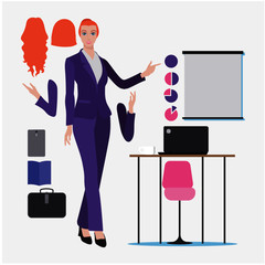 woman pointing at presentation screen board. Business seminar, review of financial, marketing data, charts. Full length female business character in modern simple and clear flat style